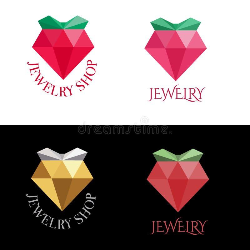 Jewelry logo design, bright crystal, modern flat style vector illustration