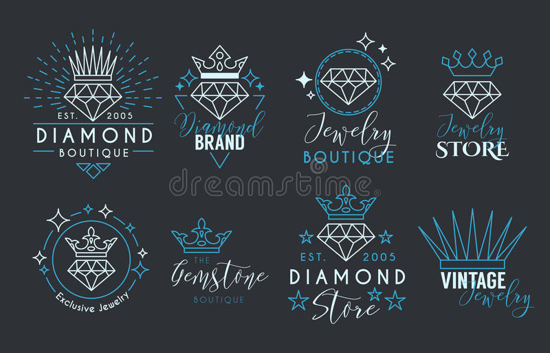 Jewelry logo set for jewelry stor stock vector illustration of jewelry logo set or label template for jewelry store jeweler business card vector typography text design collection with line art diamond and crown reheart Gallery