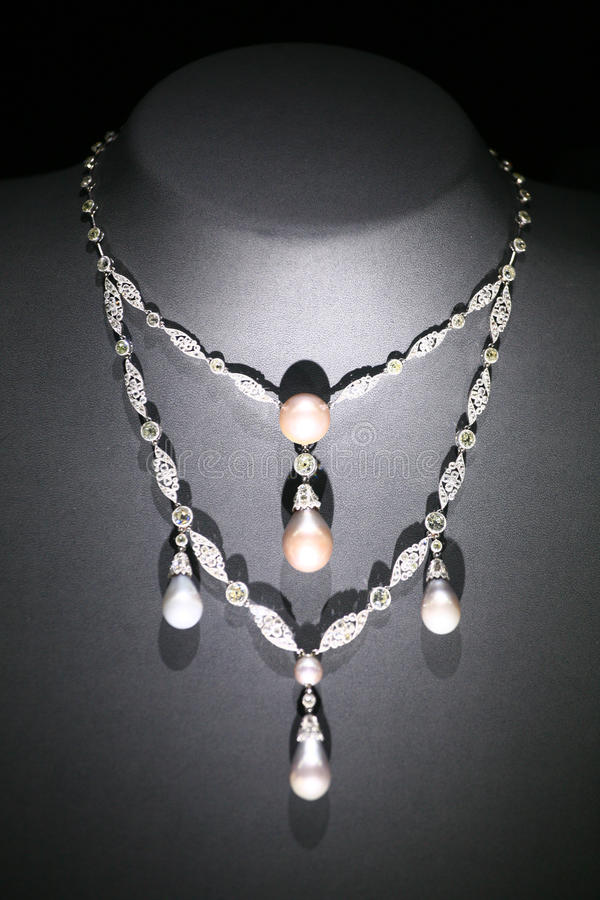 Jewelry Necklace. On black Mannequin royalty free stock photography