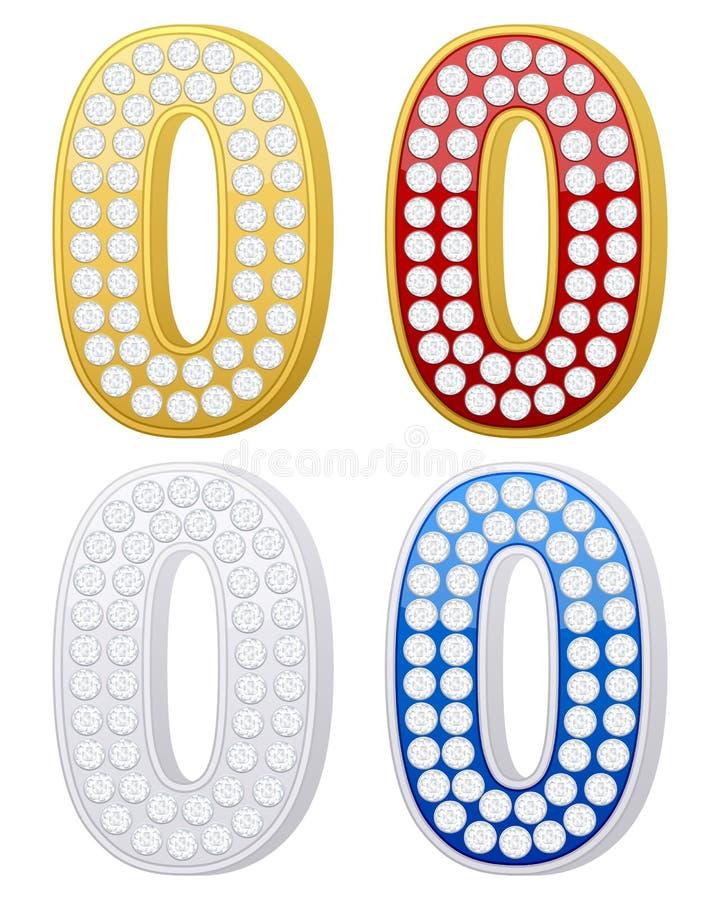 Jewelry number zero vector illustration