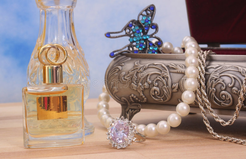 Jewelry and Perfume stock photography