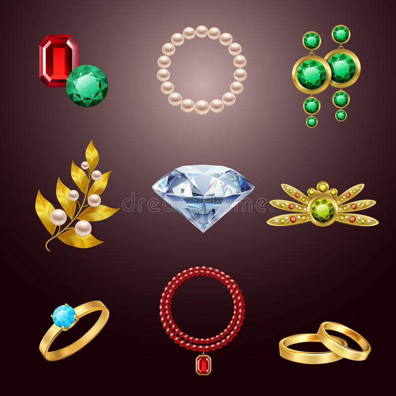 Jewelry realistic icons royalty free illustration