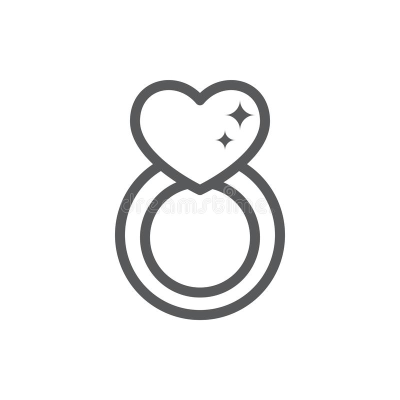 Jewelry ring with big shiny diamond in form of heart line icon with editable stroke - pixel perfect outline brilliance symbol for. Engagement or Valentines Day stock illustration