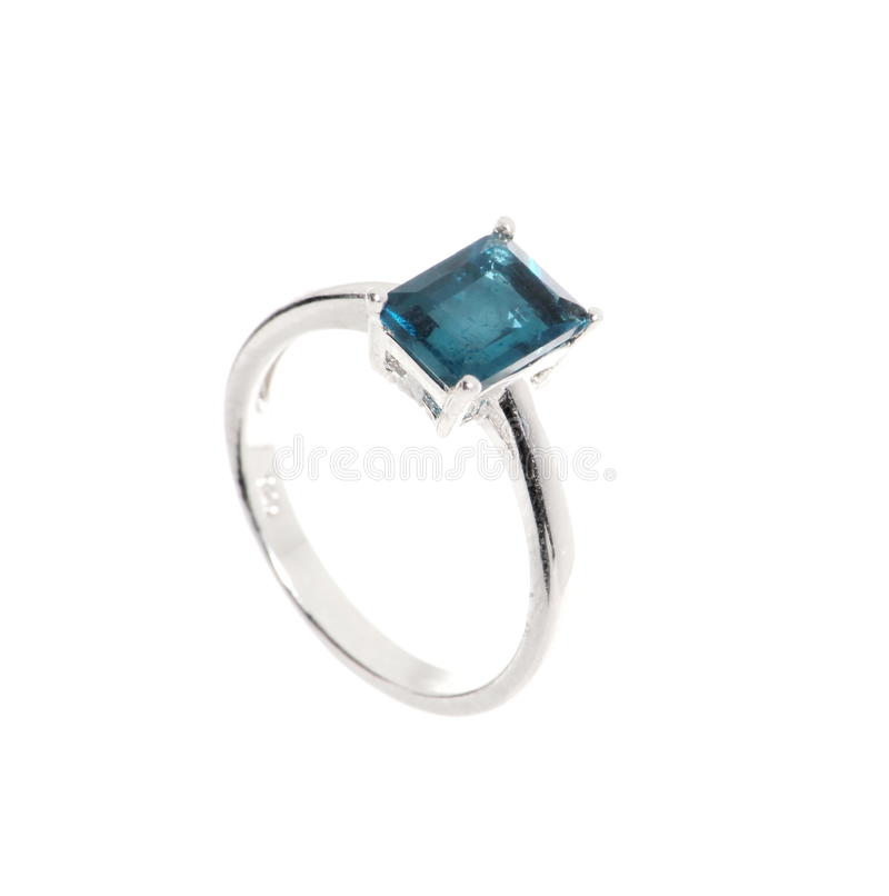 Jewelry ring with sapphires stock images