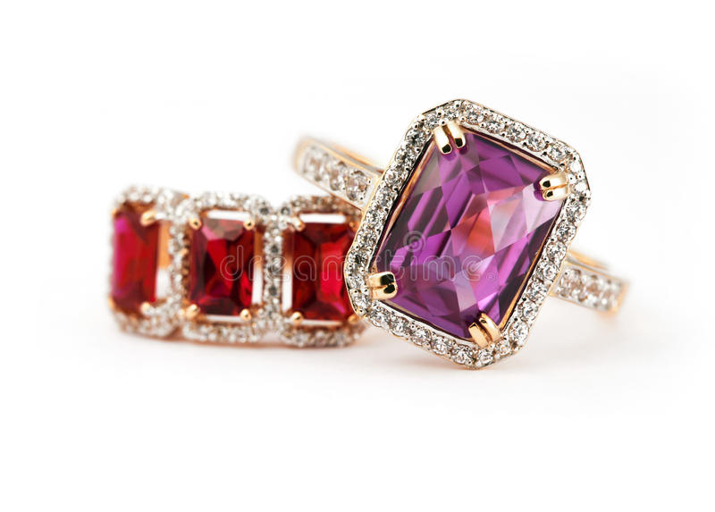 Jewelry rings with amethyst and ruby. Jewelry accessories pair of ring with amethyst and ruby stock photos
