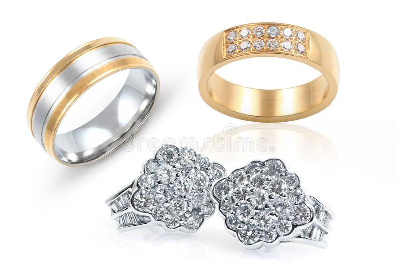 Jewelry. Rings and earrings on white background stock photo
