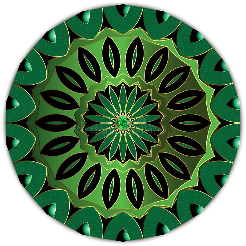 Free Jewelry Round Floral Mandala Pattern. Greek Style Luxury Green 3d Ornament With Emerald Gem Stone. Beautiful Design On White Royalty Free Stock Photo - 193869945