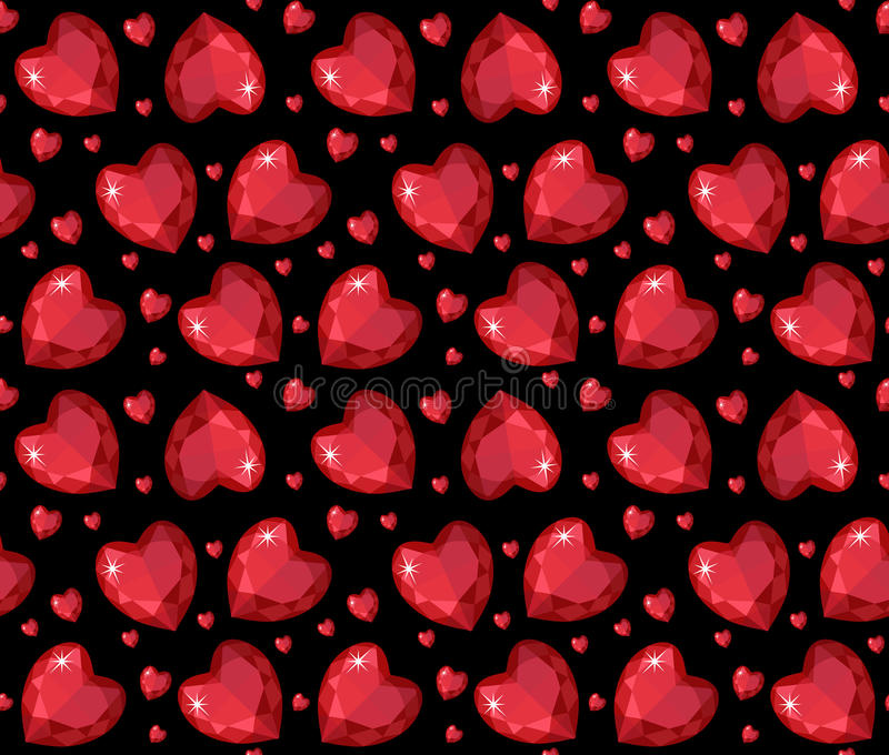 Jewelry ruby red heart seamless pattern. Brilliant, gems hearts endless background. Texture, wallpaper. Valentines Day. Vector illustration stock illustration