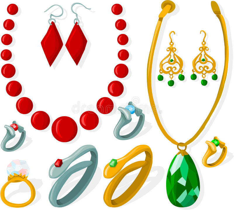Jewelry set. Set of a various jewelry vector illustration