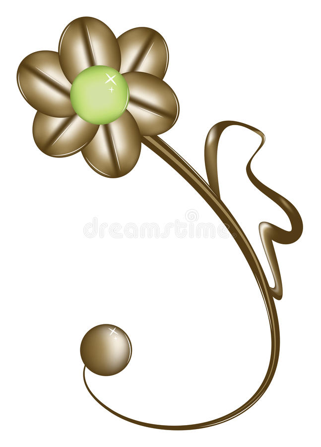 Jewelry in the shape of a flower. Jewelry - Brooch in the form of a flower. Vector illustration royalty free illustration