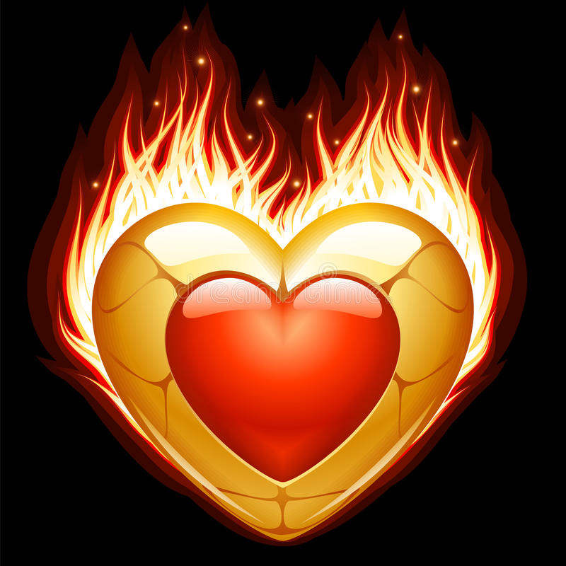 Download Jewelry In The Shape Of Heart In Fire Stock Photo - Image: 27182490