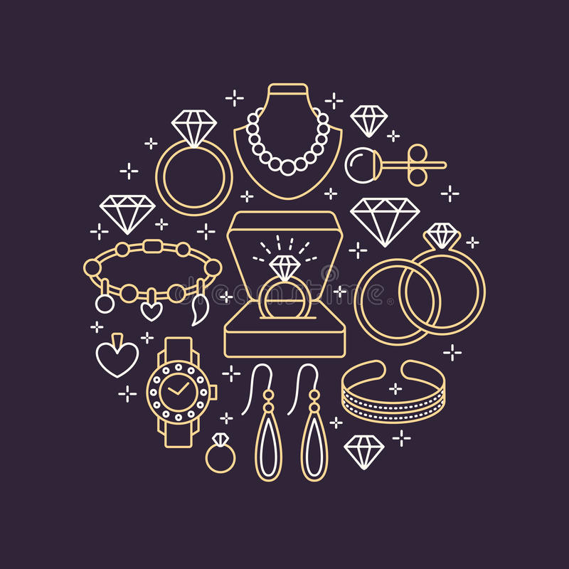 Jewelry shop, diamond accessories banner illustration. Vector line icon of jewels - gold watches, engagement rings, gem. Earrings, silver necklaces, charms royalty free illustration