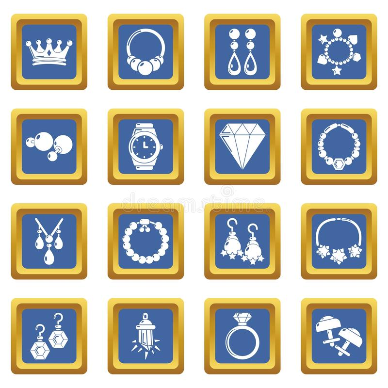 Jewelry shop icons set blue square. Isolated on white background royalty free illustration