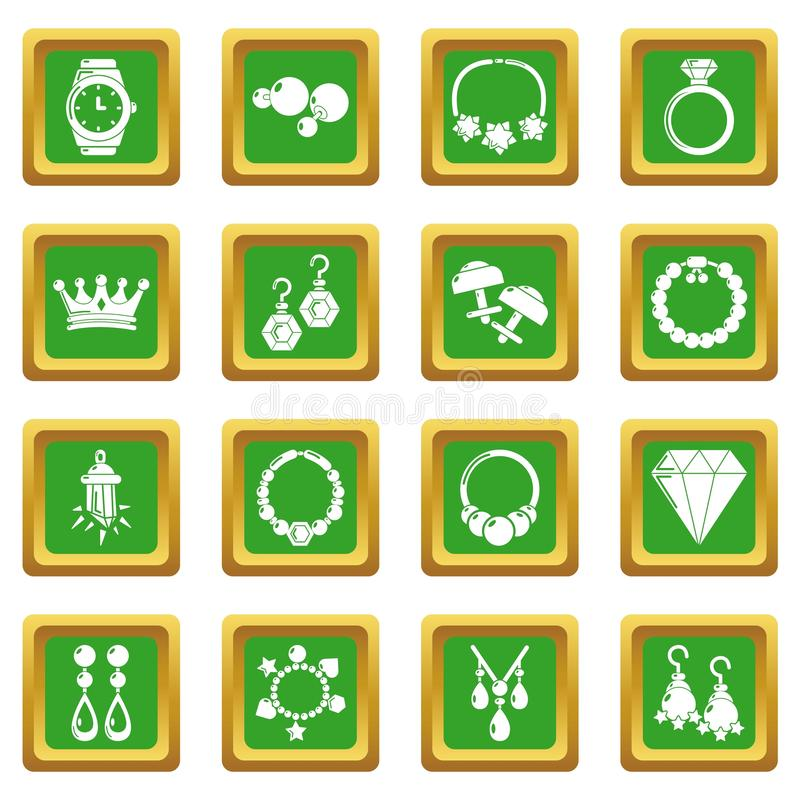 Jewelry shop icons set green square. Isolated on white background stock illustration