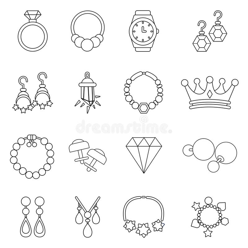 Jewelry shop icons set, outline style. Jewelry shop icons set. Outline illustration of 16 jewelry shop vector icons for web stock illustration