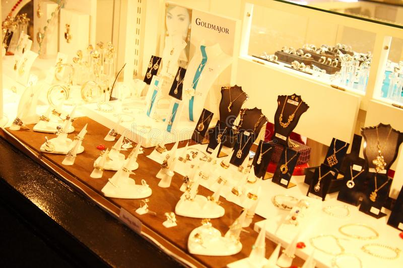 Jewelry shop scene. WINDSOR ENGLAND –OCT 26 : Atmosphere of jewelry shop shown the products assortment for tourist represent the british tourism industry stock image