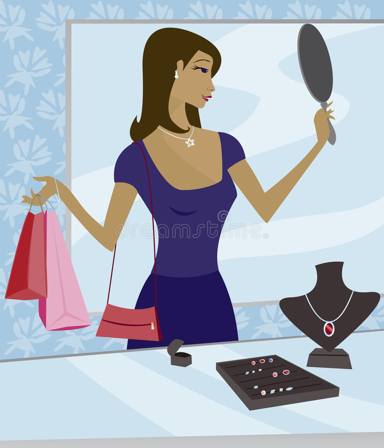 Jewelry Shopping royalty free illustration