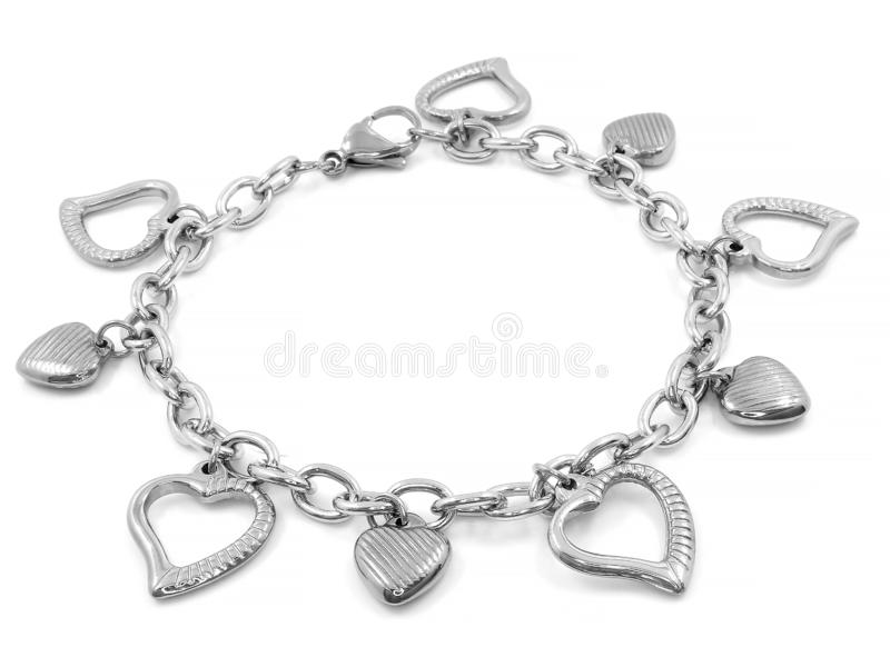 Jewelry silver bracelet. Stainless steel. One color background stock photography