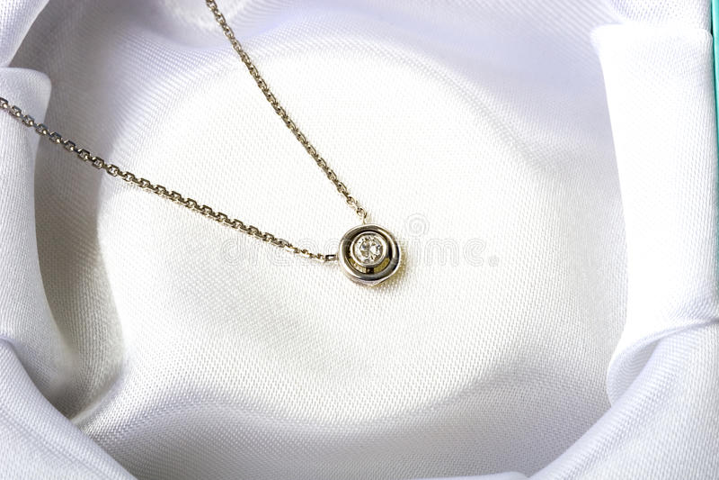 Jewelry single diamond stone necklace white gold royalty free stock photography