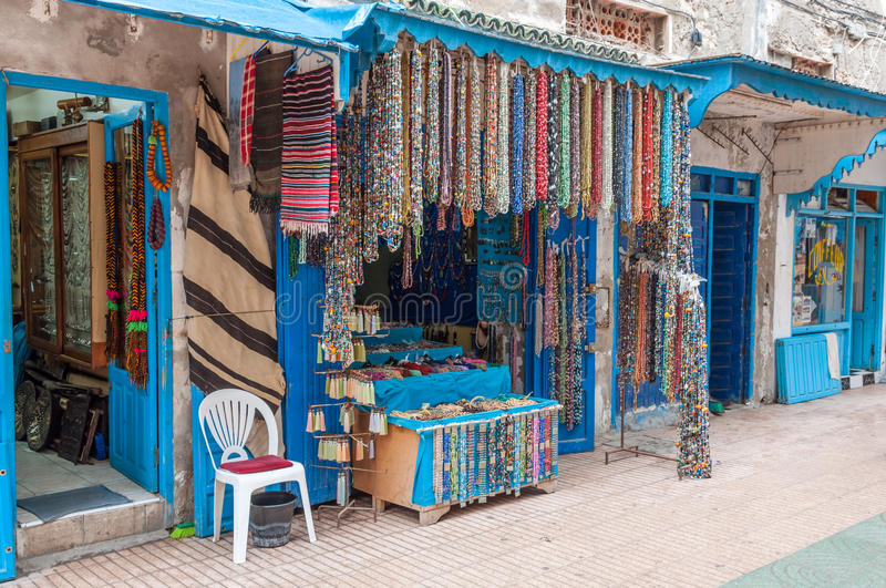 Jewelry and souvenir shop in Essaouira. Morocco, Africa royalty free stock image