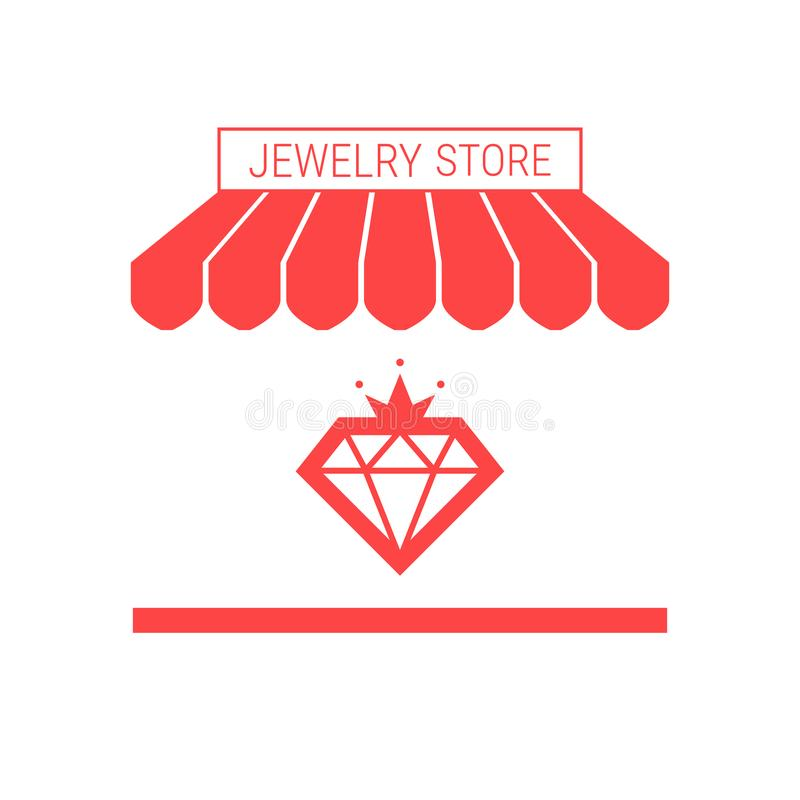 Jewelry Store, Jewelry Repair Service Single Flat Vector Icon. Striped Awning and Signboard. A Series of Shop Icons vector illustration
