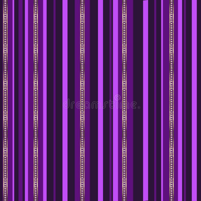 Abstract pink, purple and gold stripes with diamonds on dark purple background. Jewelry striped vector seamless pattern. Abstract pink, purple and gold stripes royalty free illustration