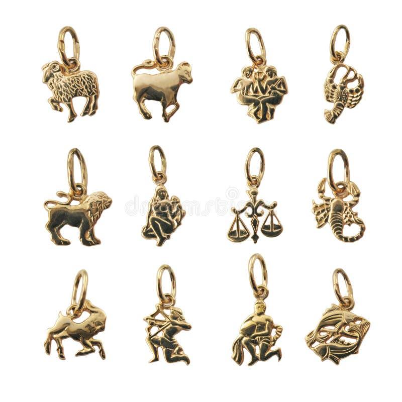 Jewelry - twelve symbols of the zodiac, horoscope royalty free stock photos