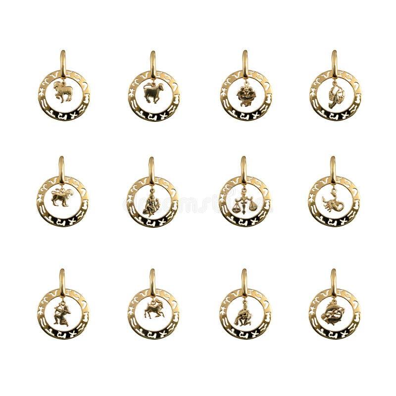 Jewelry - twelve symbols of the zodiac, horoscope stock photography