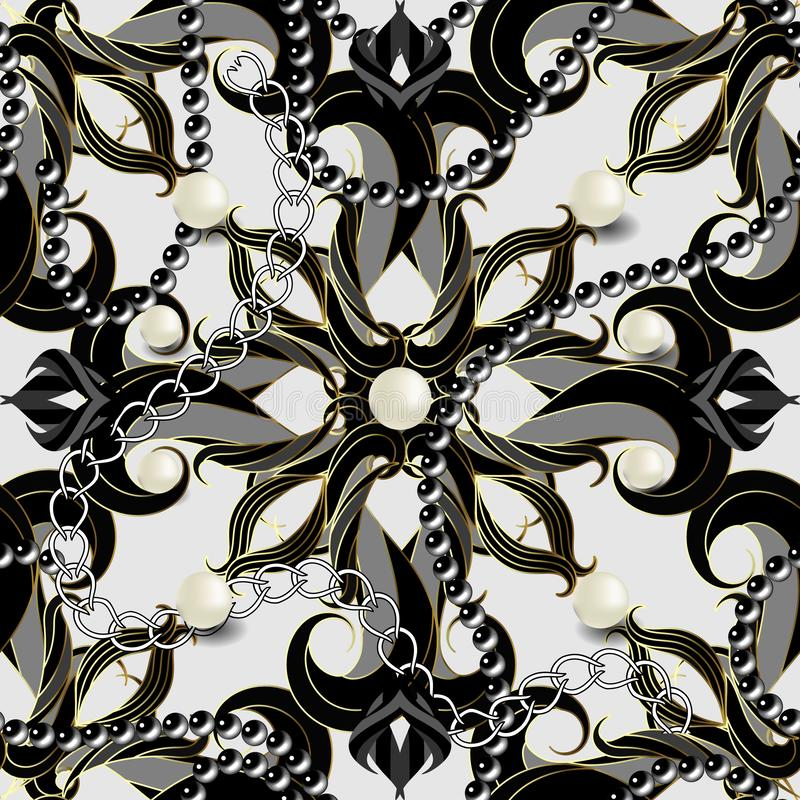 Jewelry vintage 3d vector seamless pattern. Ornamental Damask background. Elegance flowers, leaves, pearls, necklaces royalty free illustration