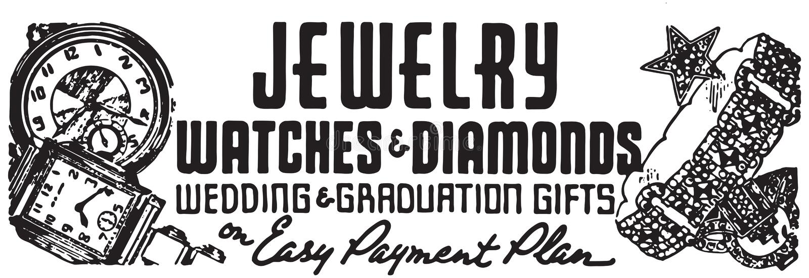 Jewelry Watches And Diamonds. Retro Ad Art Banner vector illustration