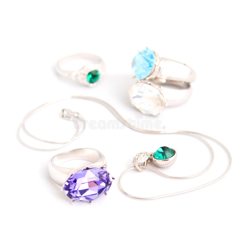 Jewelry on white background isolated royalty free stock photography