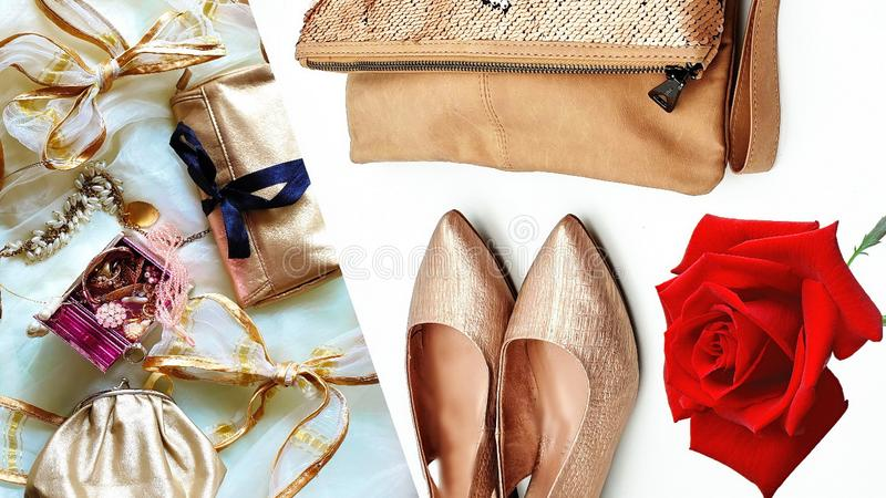 Women shoes and handbag gold stylish elegant luxury accessories roses flowers still life shop girl clothes,Jewelry white pearl fas. Jewelry white pearl fashion royalty free stock photos