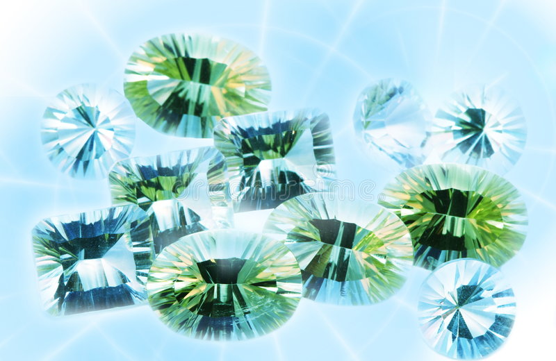 Jewels. Many gems in the light vector illustration