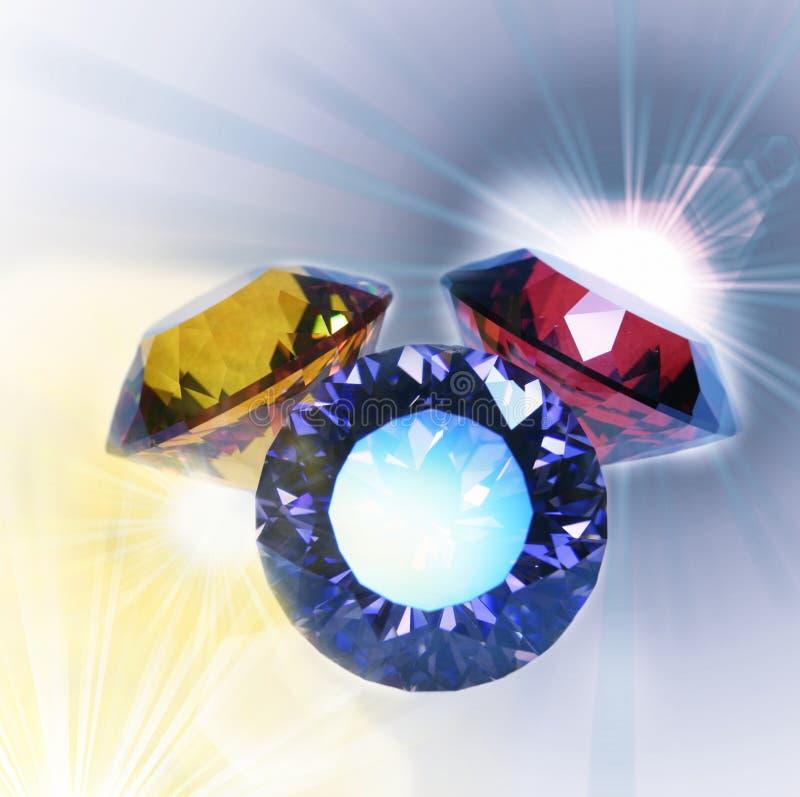 Jewels. Gems close up on the light stock illustration