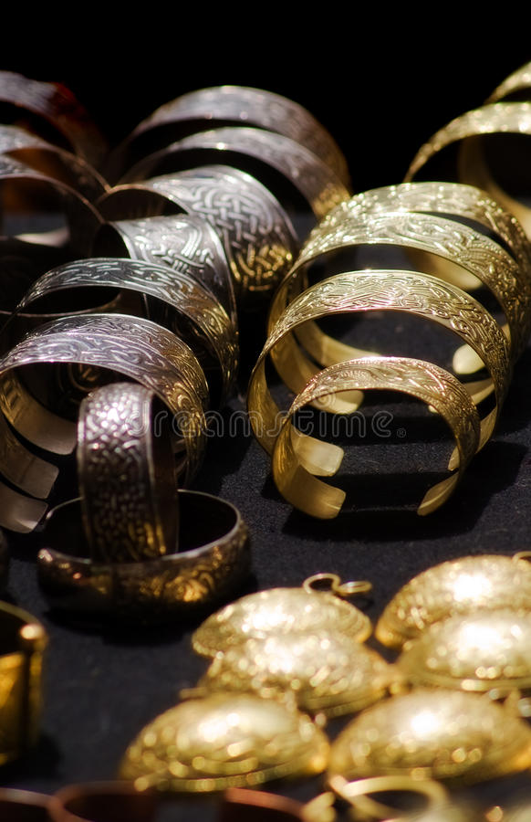 Jewels with ancient Slavic designs stock photo