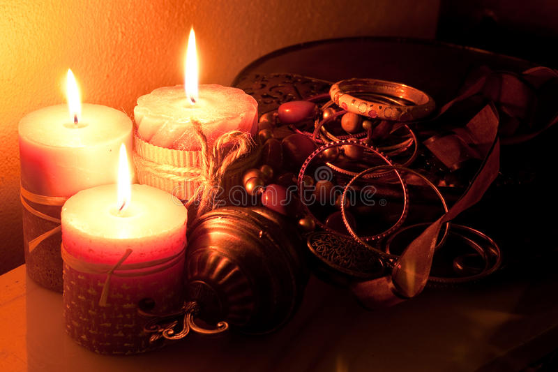 Jewels with the candle light. The pictureof the jewels with the candle light royalty free stock image