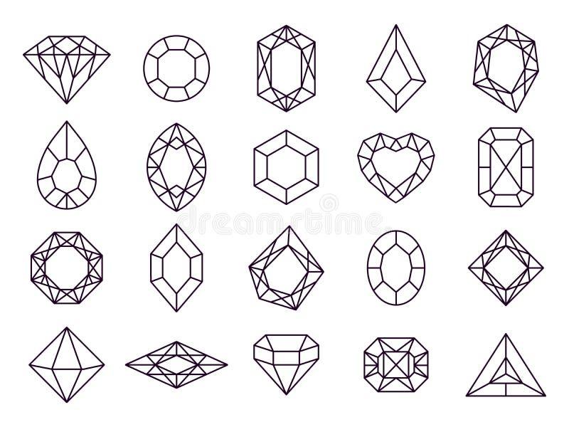 Jewels diamond icons. Diamonds gems, luxury jewel gemstones and precious gem isolated vector line icon set vector illustration