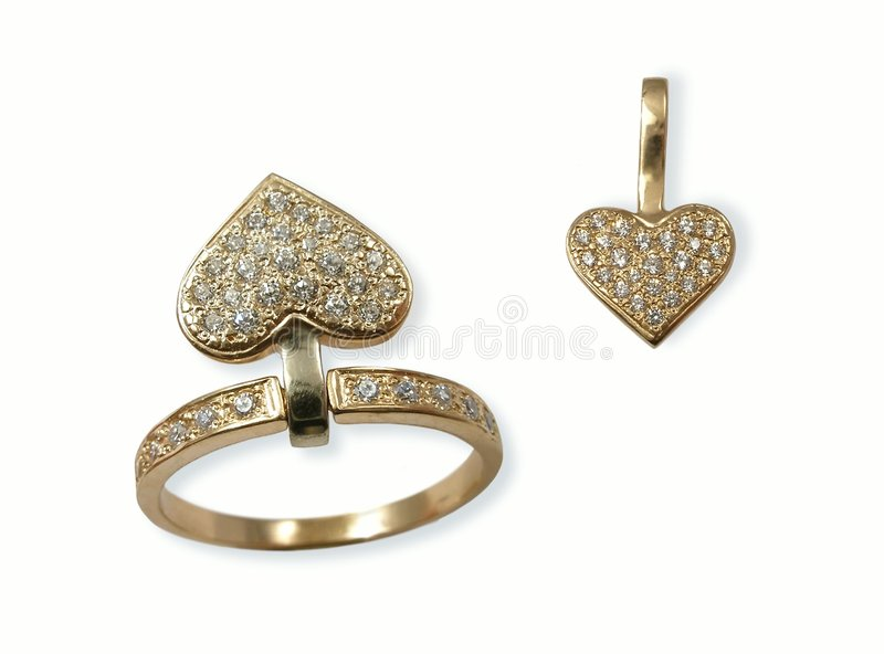 Jewels in the form of heart. Isolated royalty free stock photography