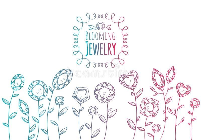Jewels gemstones flowers hand drawn illustration. Colorful sketch style stock illustration