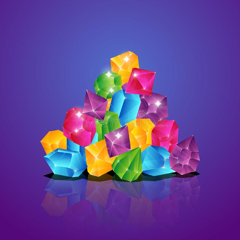 Jewels pile. Colored diamonds heap gems brilliant piles treasure cartoon vector illustration stock illustration