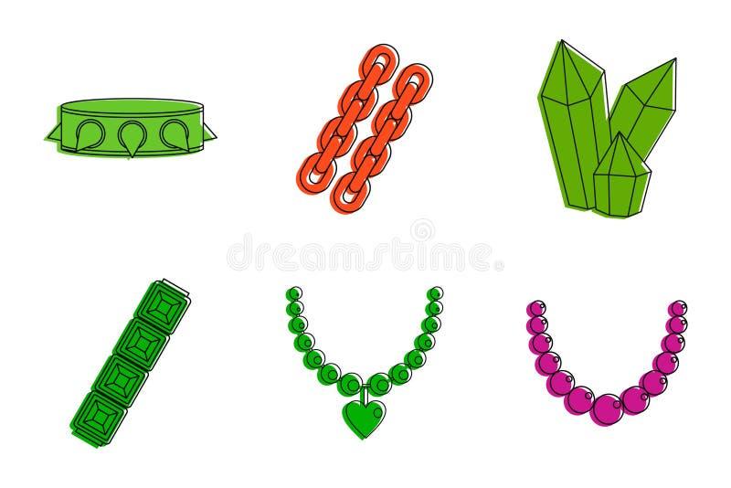 Jewerly ikony set, koloru konturu styl ilustracji