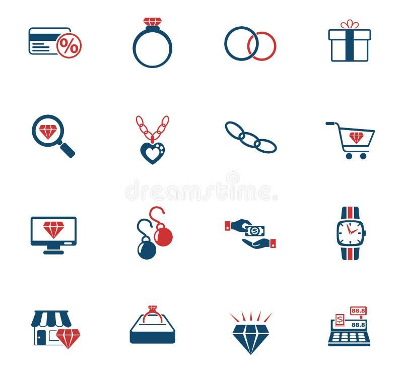 Jewerly sklepu ikony set ilustracji