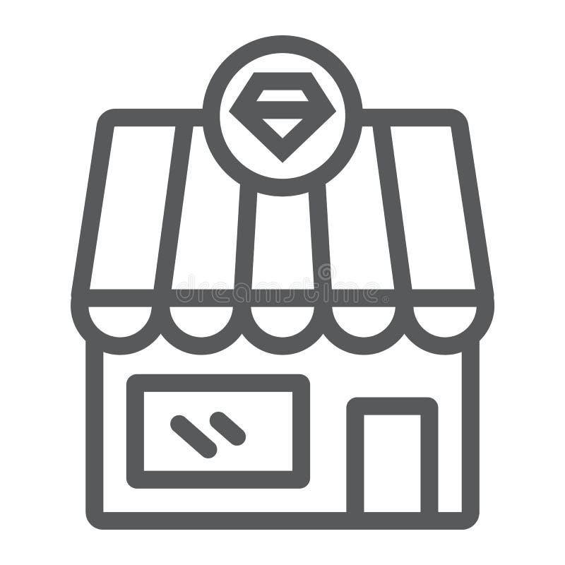Jewerly sklepu linii ikona, budynek i akcesorium, diamentowy sklepu znak, wektorowe grafika, liniowy wzór na bielu ilustracja wektor