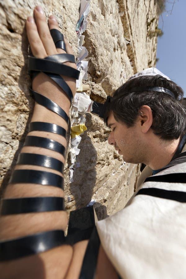 Jewish Man Praying at the Western Wall stock photos