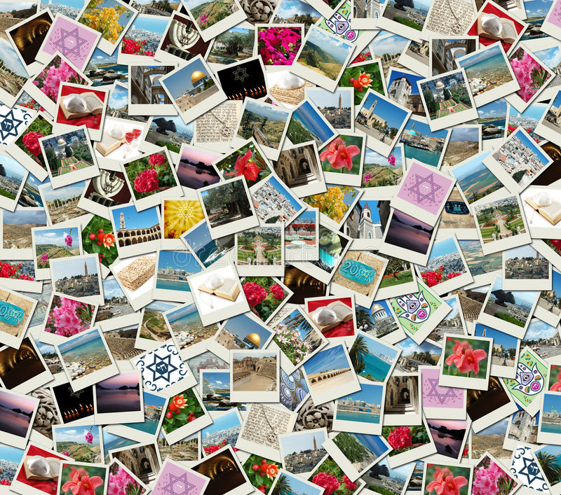 Jewish Background collage made of travel photos royalty free stock photo