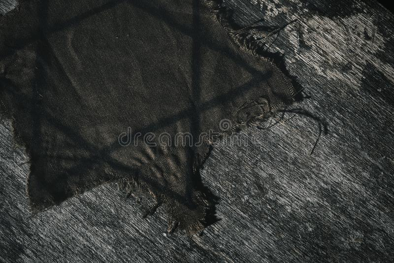 Jewish badge on a wooden surface royalty free stock image