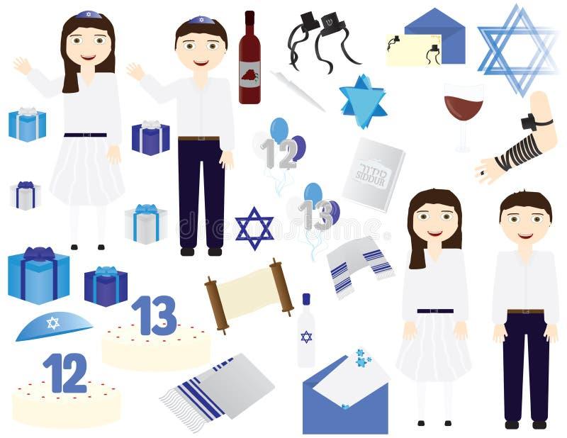 Jewish Bar mitzvah Bat mitzvah vector icons elements. Jewish girl celebrating 12th birthday, Jewish boy celebrating 13th birthday stock illustration