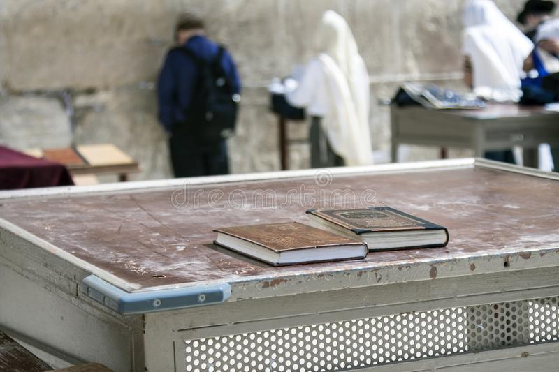 Israel - Jerusalem - Jewish bible and religious book on table in stock image