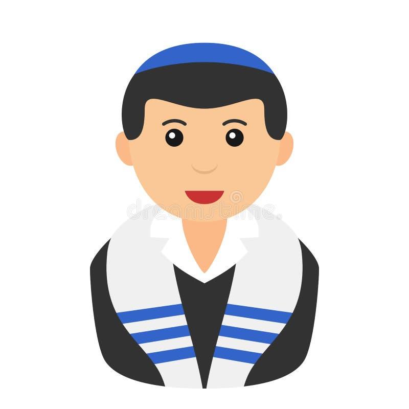 Jewish Boy Avatar Flat Icon on White royalty free illustration