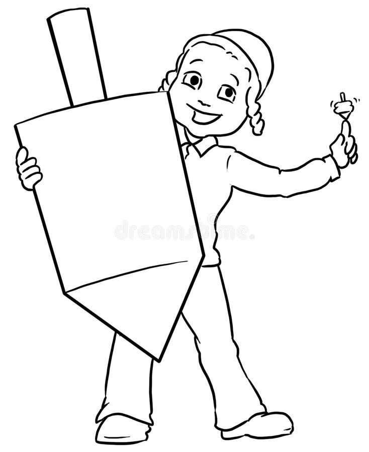 Jewish boy holding large dreidel. Little jewish boy holding an large chanuka dreidel vector illustration